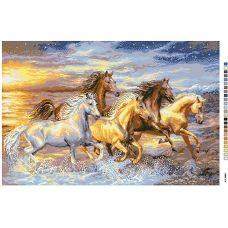 А2-16-021 Лошади у моря. Канва для вышивки нитками Вышиванка