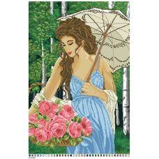 А2-16-028 Девушка с цветами. Канва для вышивки нитками Вышиванка