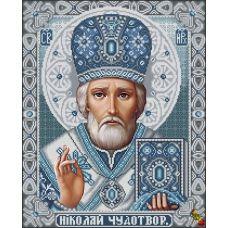 ИК2-0303(2) Святой Николай Чудотворец хрусталь в серебре. Схема для вышивки бисером Феникс