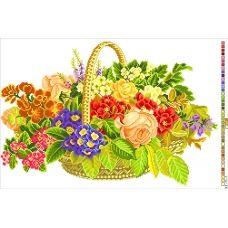 А3-14-001 Корзина с цветами. Канва для вышивки нитками Вышиванка