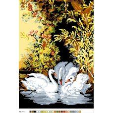 А3-14-003 Лебеди на пруду. Канва для вышивки нитками Вышиванка