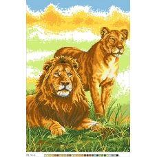 А3-14-004 Лев и львица. Канва для вышивки нитками Вышиванка