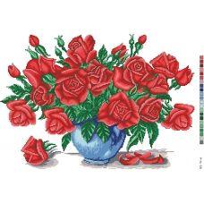 А3-14-006 Красные розы в вазе. Канва для вышивки нитками Вышиванка