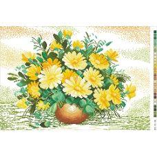 А3-14-010 Желтые цветы. Канва для вышивки нитками Вышиванка