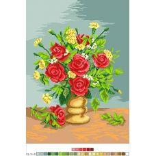 А3-14-023 Букет из роз. Канва для вышивки нитками Вышиванка