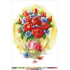 А3-14-024 Алые розы. Канва для вышивки нитками Вышиванка
