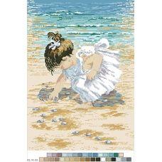 А3-14-033 Девочка на берегу. Канва для вышивки нитками Вышиванка