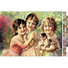 А3-14-037 Три девочки. Канва для вышивки нитками Вышиванка