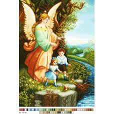 А3-14-040 Ангел с детьми. Канва для вышивки нитками Вышиванка
