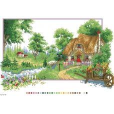 А3-14-088 Лесной домик. Канва для вышивки нитками Вышиванка