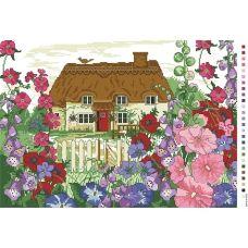 А3-14-101 Дом с мальвами. Канва для вышивки нитками Вышиванка