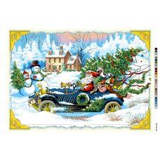 А3-16-146 Новогодняя поездка. Канва для вышивки нитками Вышиванка