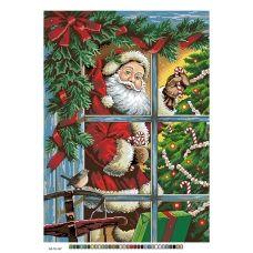 А3-16-147 Санта в окне. Канва для вышивки нитками Вышиванка