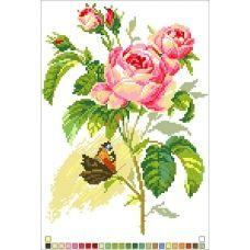 А4-14-003 Бабочка на цветах. Канва для вышивки бисером Вышиванка