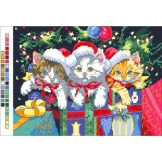 А4-14-013 Новогодние котята. Канва для вышивки бисером Вышиванка