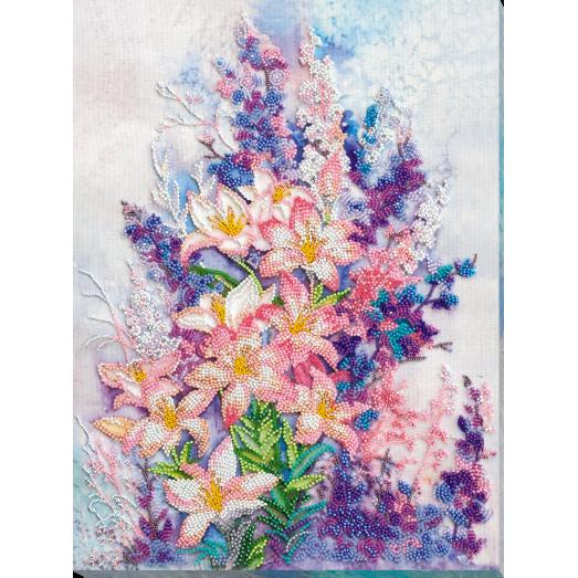 АВ-798 Нежно-розовый. Набор для вышивки бисером на художественном холсте. Абрис Арт