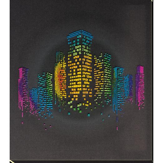 АВ-810 Ночь в городе. Набор для вышивки бисером на художественном холсте. Абрис Арт