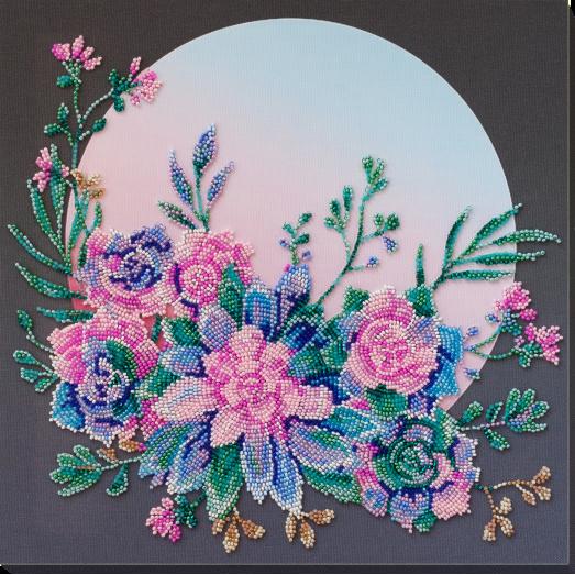 АВ-824 Лунные цветы. Набор для вышивки бисером на художественном холсте. Абрис Арт