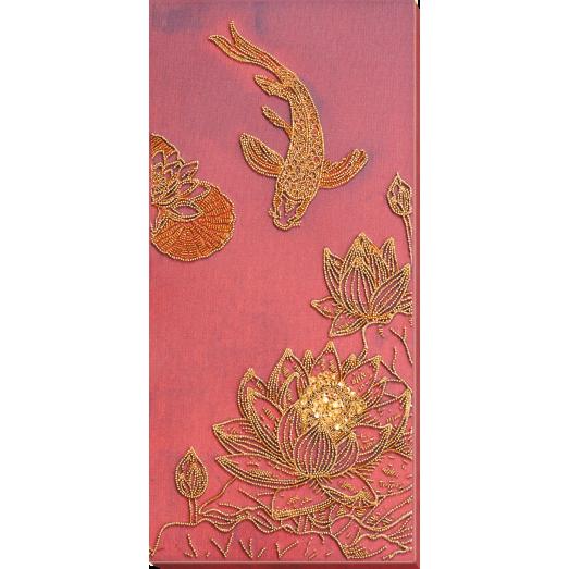 АВ-826 Кои красный.  Набор для вышивки бисером на художественном холсте. Абрис Арт