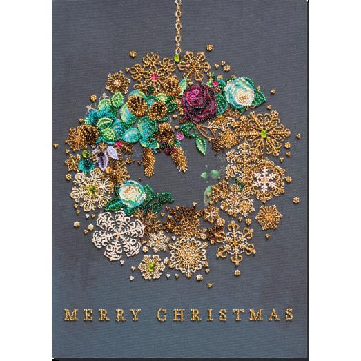 АВ-828 Новогодний венок.  Набор для вышивки бисером на художественном холсте. Абрис Арт