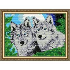 АТ3001 Волки лунной ночью. Набор для рисования камнями. Арт Солло