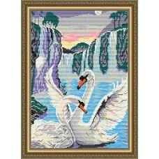 АТ3003 Лебеди у водопада. Набор для рисования камнями. Арт Солло