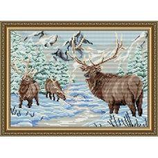 АТ3008 Олени в зимнем лесу. Набор для рисования камнями. Арт Солло