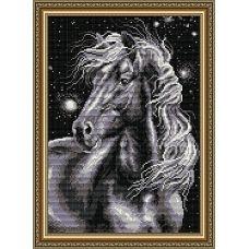 АТ3017 Черный конь. Набор для рисования камнями. Арт Солло