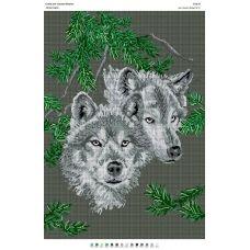 БА2-035 Волки-пара. Схема для вышивки бисером Вышиванка