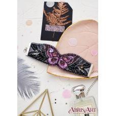 ADB-003 Набор для вышивки бисером украшение-браслет на натуральном художественном холсте Лиловый взмах. ТМ Абрис Арт