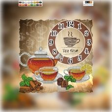 CH-010(32*32) ХОЛСТ. Часы Чай. Схема для вышивки бисером. СвитАрт