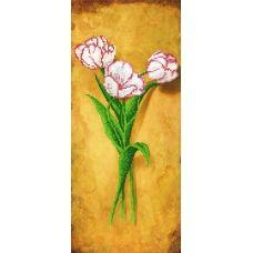 EF-019(17*39)  Бело-розовые тюльпаны. Схема для вышивки бисером СвитАрт