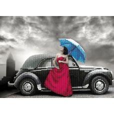 F-025(А3) Девушка под зонтом. Схема для вышивки бисером СвитАрт