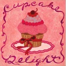 FLF-006 Розовое пирожное. Набор на холсте для вышивки бисером Волшебная Страна