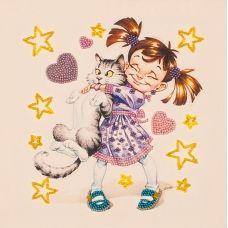 FLF-014 Девочка с котом. Набор на холсте для вышивки бисером Волшебная Страна
