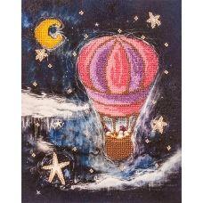 FLF-047 На воздушном шаре. Набор на холсте для вышивки бисером Волшебная Страна