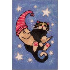 FLF-069 Лунный кот. Набор на холсте для вышивки бисером Волшебная Страна