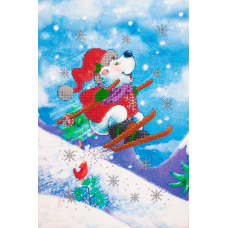 FLS-074 Новогодний мишка. Схема для вышивки бисером. Волшебная Страна