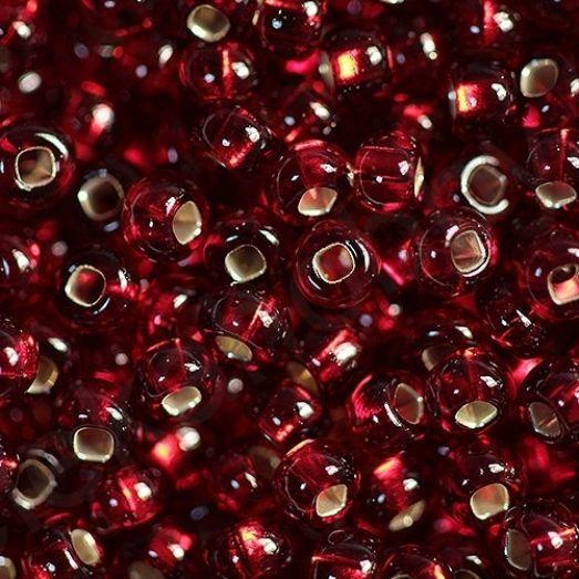 97090 / №497 Красный прозрачный с серебряной серединкой