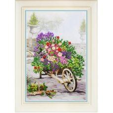 R-040 Цветы в саду. Набор для вышивки нитками. ТМ Olanta