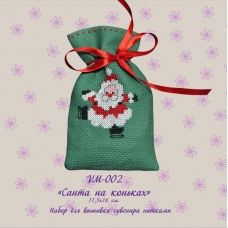 VM-002 Санта на коньках. Набор для вышивки нитками. ТМ Olanta