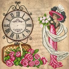 FV-192(27*27) Девушка и часы. Схема для вышивки бисером. Свит Арт