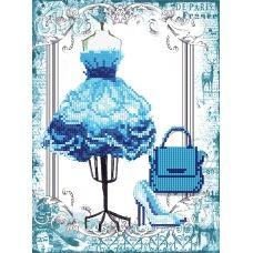 FV-340а (А4) Голубое платье. Схема для вышивки бисером СвитАрт