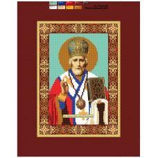 09 (А5) ХОЛСТ. Св. Николай Чудотворец. Схема для вышивки бисером СвитАрт
