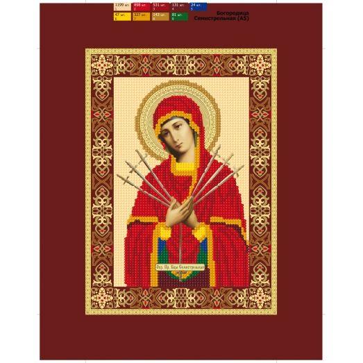 57 (А5) ХОЛСТ. Богородица Семистрельная. Схема для вышивки бисером СвитАрт