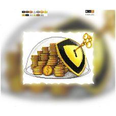 F-020(А4) ХОЛСТ. Монеты. Схема для вышивки бисером СвитАрт