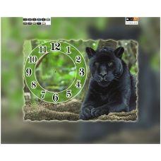 FV-052(А3) ХОЛСТ. Пантера-часы. Схема для вышивки бисером. Свит Арт