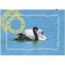FV-198b(А2) ХОЛСТ. Лебеди.Часы. Схема для вышивки бисером. Свит Арт