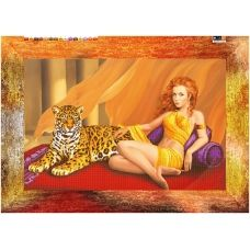 SI-255(А2) ХОЛСТ. Девушка с леопардом. Схема для вышивки бисером СвитАрт