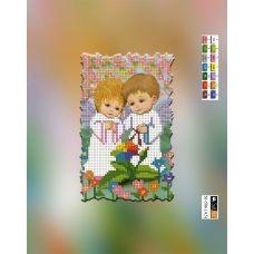 SI-586(А5) ХОЛСТ. Ангелочки в саду. Схема для вышивки бисером Свит Арт